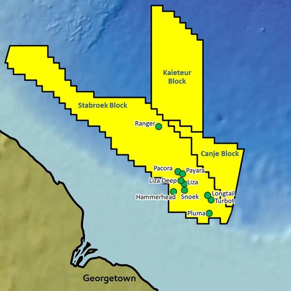 الاكتشافات السابقة في كتلة Stabroek (صورة: ExxonMobil)