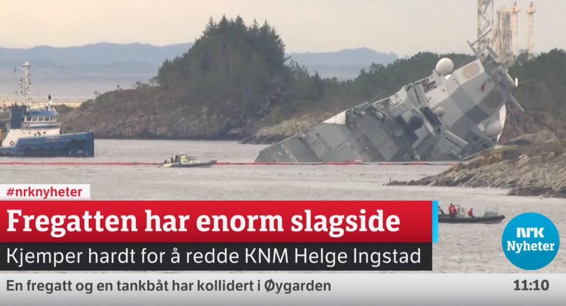 Fragata afundando (captura de tela da cobertura de streaming da NRK em https://www.nrk.no/. A NRK é a empresa pública de radiodifusão e televisão estatal norueguesa)