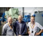 The project leaders pictured at the Sustainable Energy Catapult Center's test facility at Stord, Norway from left to right: Egil Hystad, Wärtsilä, Willy Wågen, Sustainable Catapult, and Kjell Storelid, Wärtsilä. (Photo: Wärtsilä)