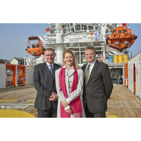 Celebrating the naming of Forties Sentinel are (left to right) Rory Deans, chief executive of Sentinel Marine, Ylva Tuft – the ship's godmother – and Mervyn Williams, supply chain manager for INEOS Breagh. (Photo: Sentinel Marine)