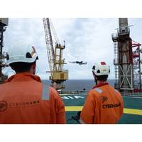 Cyberhawk team operating drones offshore Photo Cyberhawk