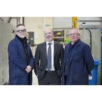 L-R Jim McBride, Manufacturing Supervisor of Electronics and Microwave divisions, Jim Davidson, CEO of Albacom and Ronnie McKenzie, Surface Engineering & Machining Supervisor. Photo Albacom