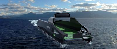 Artists impression of the 'Hrönn'. (Photo: Automated Ships Ltd.)