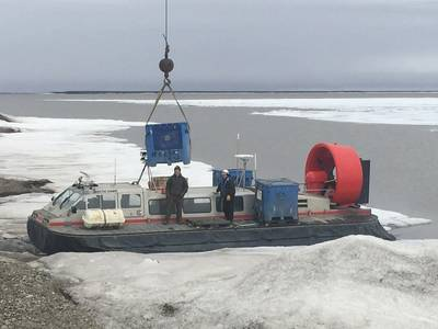 Crowley's hovercraft Arctic Hawk shuttles people and supplies to an Alaskan drill site which became disconnected after the road leading to it was washed out. (Photo: Crowley)