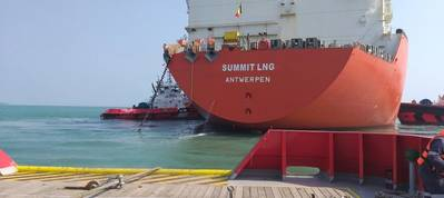 """Excelerate's FSRU """"Summit LNG"""" Flowing Gas into Bangladesh. Image: Excelerate Energy"""