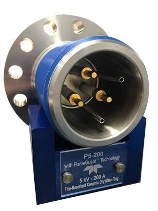 The FlameGuard P5-200 is a flame-proof ceramic electrical penetrator for use as part of the fire resistant envelope of an offshore surface wellhead and Christmas tree system. (Image: Teledyne Marine)
