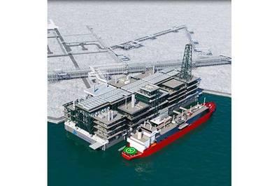 Illustration; A tanker next to the gravity based structure being built for Novatek - Credit: Novatek