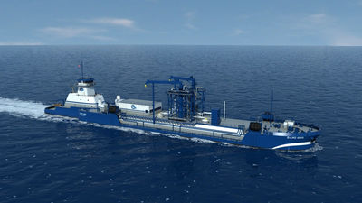 File Image: Harvey-Gulf's (Q-LNG) future ATB LNG bunker vessel involves a charter with Shell. IMAGE: HGIM