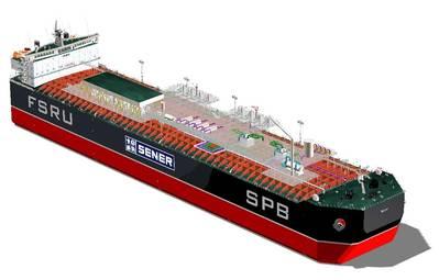 File Image: A rendering of a typical FSRU design (CREDIT: Sener)