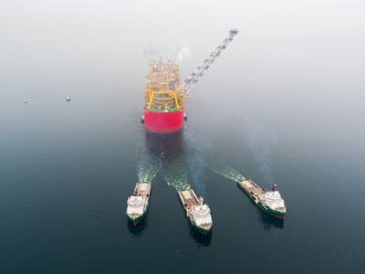 File Image: a typical FLNG underway on its way to deployment (CREDIT: shell)