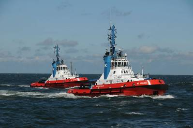 KOTUG's contract with Perenco for towage support for operations off Port Gentil, Gabon includes the chartering, operation and manning of three vessels, two of which are Kotug's first-ever Rotor Tugs, the RT Magic and RT Spirit, pictured. Photo courtesy KOTUG.