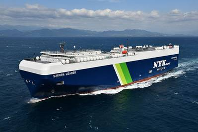 "LNG-fueled PCC ""SAKURA LEADER"". Photo Courtesy Mitsubishi Shipbuilding Co., Ltd."