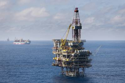 Peregrino A platform , with FPSO in the background offshore Brazil (Photo: Øyvind Hagen / Equinor)