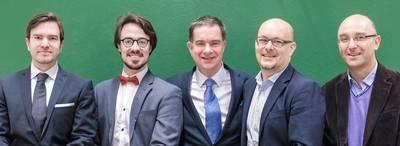 Team picture: left to right: Mikko Järvinen (legal advisor), Philippe Pépin (COO), Edward Ridgway Watt (CEO), Petri Saarinen (CDO), Marco Tatti (Board Director) (Photo: Yaskawa)