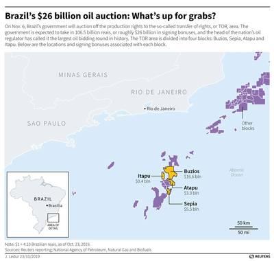 Reuters graphic of Brazil Oil blocks