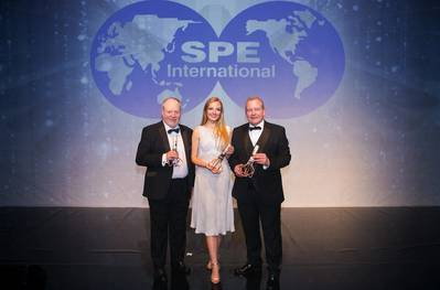From left to right John Fraser (Sparrows Group), Laura Steedman (BP), Ray Riddoch (Nexen Petroleum U.K. Limited) Photo courtesy of SPE Aberdeen