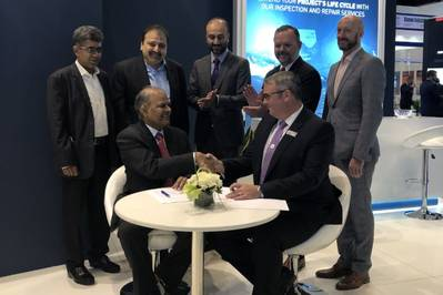At the signing ceremony in Abu Dhabi, left to right: Sadiq Mansuri, F&M; Javed Khamisani, F&M; Syed Farukh Mazhar, MD F&M; Gregory Boyle, Regional Director Oceaneering; Mark Russell, commercial counselor, Consulate General of the United States; Kashif Salim, Oceaneering; and Michael Sullivan, Economic Counselor (Photo: Oceaneering)