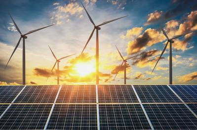 Wind and solar power: much more power needs to be generated from these sources in order to meet the targets set for 2030 by the Paris Agreement on climate change, according to DNV GL.  (Photo © Adobe Stock / lovelyday12)