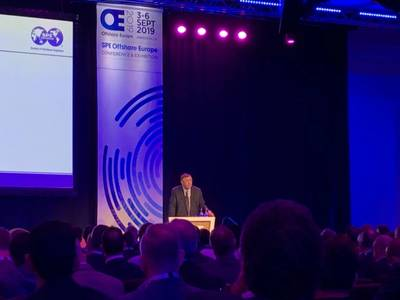 Total CEO Patrick Pouyanne speaks at Offshore Europe in Aberdeen (Photo: Eric Haun