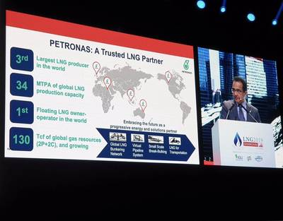 Wan Zulkiflee speaks at the LNG2019 conference in Shanghai (Photo: Petronas)