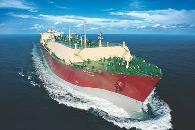 Изображение файла: типичный перевозчик СПГ на море (КРЕДИТ: QGTC)