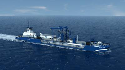 """صورة الملف: صورة عن سفينة نقل السفن التابعة لشركة """"هارفي"""" في خليج هارفي. وستقوم هذه السفينة، التي تم بناؤها، بالشراكة مع شركة شل، بتوفير الغاز الطبيعي المسال إلى مجموعة من سفن الرحلات البحرية الجديدة للغاز الطبيعي المسال / وقود مزدوج الوقود التي يجري بناؤها حاليا. كريديت: هارفي الخليج"""