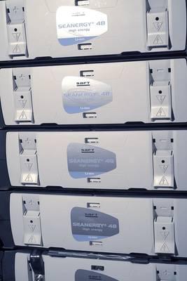 ファイルイメージ:一般的なSAFTエネルギーオンボード船舶用エネルギーラック。クレジット:Saft