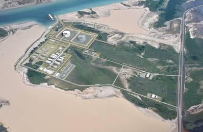艺术家的印象描绘了德克萨斯州液化天然气公司计划的液化设施(图片来源:Texas LNG Brownsville LLC)