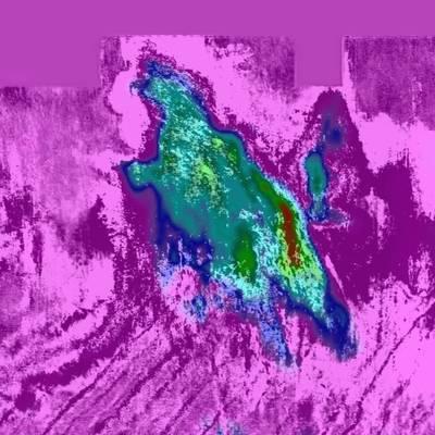 通过Q模型,该切片深度为595米,清晰地突出了Peon气田的范围(图片由CGG Multi-Client&New Ventures提供)