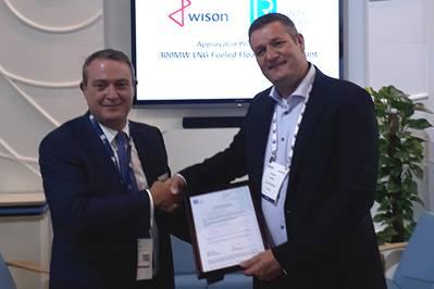 David Barrow, diretor comercial da LR - Marine & Offshore apresenta a AIP a Maarten Spilker, diretor de soluções da Wison na Gastech esta semana em Barcelona. (Foto: Lloyd's Register)