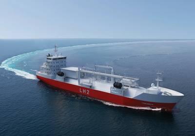 Moss Maritime、Wilhelmsen Ship Management、Equinor、およびDNV-GLによる液化水素輸送用のバルクキャリアのレンダリング。写真提供:モス海事。