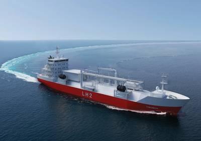 Renderização de um graneleiro para o transporte de hidrogênio liquefeito pela Moss Maritime, pela Wilhelmsen Ship Management, pela Equinor e pela DNV-GL. Crédito da foto: Moss Maritime.