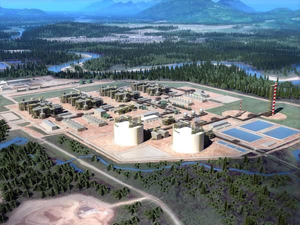 Оказание объекта экспорта СПГ (изображение: LNG Canada)