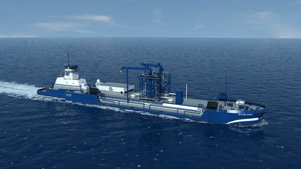 Datei-Bild: Eine Darstellung des Q-LNG ATB-Bunkerschiffs von Harvey Gulf. Wenn es gebaut wird, wird dieses Schiff, in Partnerschaft mit Shell, LNG für eine Reihe neuer LNG / Dual Fuel Cruise Schiffe bereitstellen, die derzeit gebaut werden. Kredit: Harvey Golf
