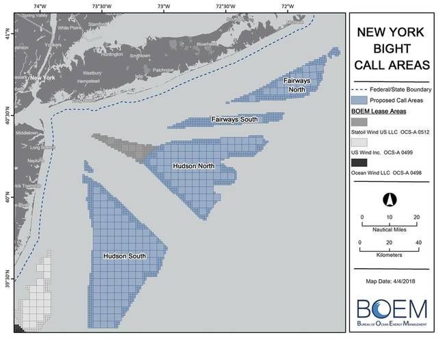 """New York Bight call areas.  """"Call"""" is a short-hand term referring to calls for proposals or calls for interest in an area. (Image: BOEM)"""