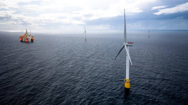 Equinor's Hywind Tampen project will use floating wind turbines to provide power to the Snorre and Gullfaks oil and gas production facilities.  (Image: Equinor)