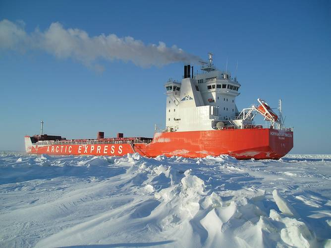 The first ever cargo vessel to sail from Murmansk to Shanghai via the Northern Sea Route, without the assistance of icebreakers, recently completed its maiden crossing, cutting a 65-day journey on the return leg down to 19 days. ABB's Azipod electric propulsion technology helps to make the year-round journey possible. (Photo: ABB)