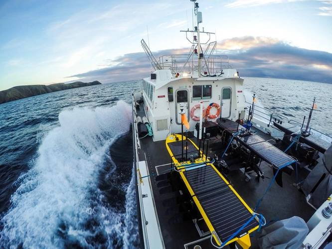 Wave Gliders being transported out of Stornaway prior to launch (Photo: NOC)