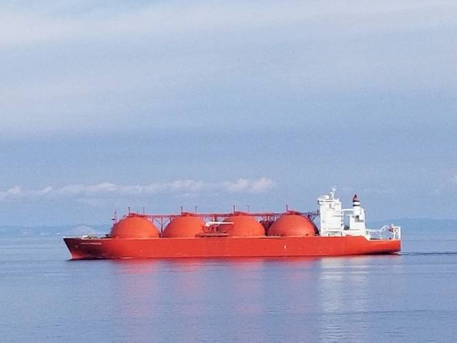 File Image: A typical LNG carrier recently seen underway in the Med (CREDIT: Robert Murphy)