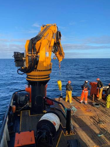 The Nortek Signature250 ADCP is deployed during a windfarm site survey undertaken by Partrac off the Orkney Islands, northern Scotland. Partrac chose the instrument because of its ability to provide highly accurate current profiling data out to 200 m, and wave height and direction data up to 150 m. Image courtesy Nortek