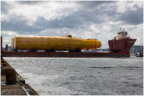 Photo courtesy Statoil -photographer Nils Petter Midtun - Hywind Scotland substructures sail away from Spain