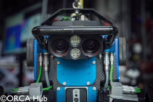 The University of Edinburgh's quadruped ANYmal robot used to demonstrate obstacles navigation for inspection tasks using a thermal camera. Copyright ORCA Hub
