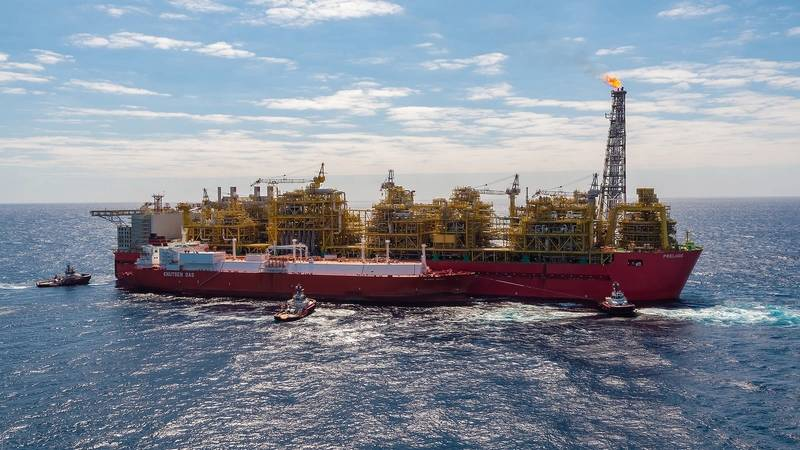 Offshore Australia: Shell's Prelude floating liquefied natural gas (FLNG) facility delivered its first LNG cargo earlier this week. Pictured is the Prelude FLNG facility, with the Valencia Knutsen berthed side-by-side (Photo: Shell)