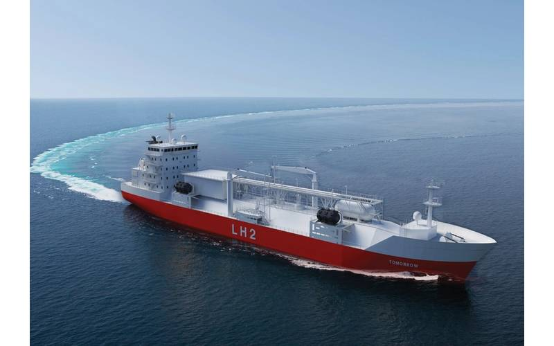 Renderings of a bulk carrier for the transportation of liquefied hydrogen by Moss Maritime, Wilhelmsen Ship Management, Equinor, and DNV-GL. Photo credit: Moss Maritime.