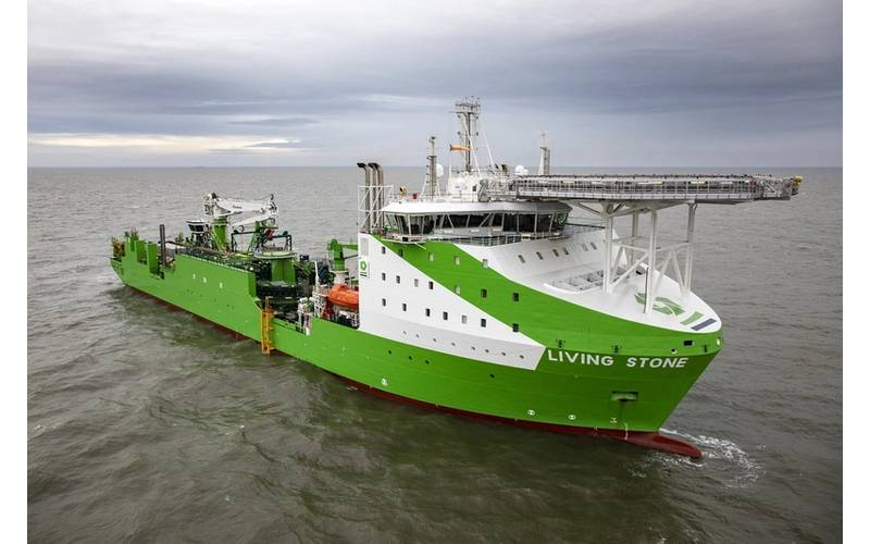 Tideway's new cable and installation vessel Living Stone, one of more than 35 vessels involved in the installation. (Photo: Ørsted)