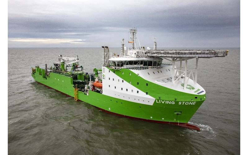 Tideway's new cable and installation vessel 'Living Stone' - one of over 35 vessels involved in the installation. Image: Ørsted